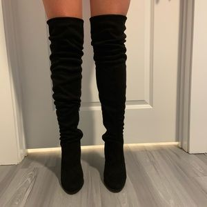 Thigh-High Black Suede Boots